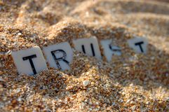 stock image of  lost trust in sand