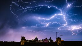 stock image of  lightning storm over the majestic hotel, harrogate, north yorkshire