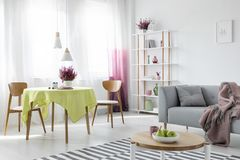 stock image of  living and dining room in apartment with grey couch and wooden furniture, real photo