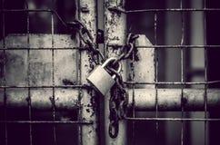 stock image of  locked gate