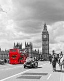 stock image of  london bus and cab