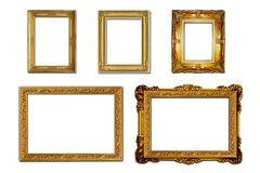stock image of  louis style wooden photo frame on white background.
