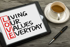 stock image of  love concept: living our values everyday