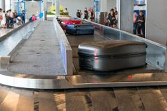 stock image of  luggage on delivery at the airport