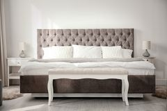 stock image of  luxury bed in room