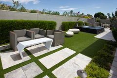 stock image of  luxury mansion home outdoor gardens