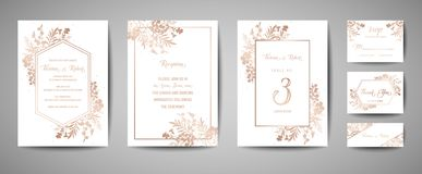 stock image of  luxury wedding save the date, invitation navy cards collection with gold foil flowers and leaves and wreath trendy cover