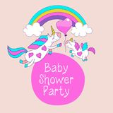 stock image of  cute unicorns with wings, mom and kid on rainbow with balloon. baby shower party.