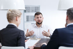 stock image of  man speaking about his skills