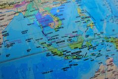 stock image of  the map of southeast asia on a globe