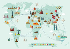 stock image of  map of the world and travel icons.
