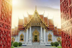 stock image of  marble temple of bangkok, thailand. the famous marble temple ben