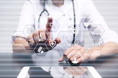 stock image of  medicine and healthcare concept. medical doctor working with modern pc. electronic health record. ehr, emr.