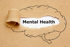 stock image of  mental health brain torn paper concept