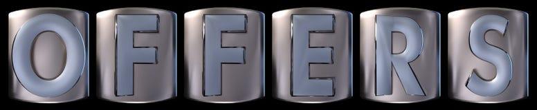 stock image of  metallic offers word