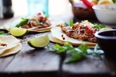 stock image of  mexican food homemade tortillas tacos with pico de gallo grilled chicken and avocado
