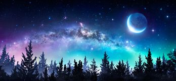 stock image of  milky way and moon
