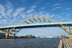 stock image of  milwaukee, wisconsin harbor bridge entrance