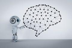 stock image of  mini robot with brain