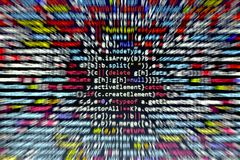 stock image of  minificated javascript code. computer programming source code abstract screen of web developer. digital technology modern backgrou