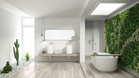 stock image of  minimalist white bathroom with vertical and succulent garden, wooden floor and pebbles, hotel, spa, modern interior design