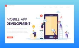 stock image of  mobile app development ab test landing page. software developer character provide ux innovation design for application