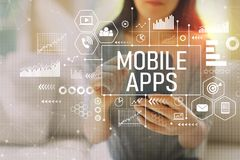 stock image of  mobile apps with woman using a smartphone