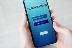 stock image of  mobile banking internet payment application on smartphone screen.