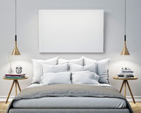 stock image of  mock up blank poster on the wall of bedroom, 3d illustration background