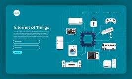 stock image of  mock-up design website flat design concept internet of things (iot). vector illustration.