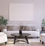 stock image of  mock-up poster background in living room interior, scandinavian style