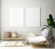stock image of  mock up poster frame in hipster interior background, living room,scandinavian style, 3d render, 3d illustration