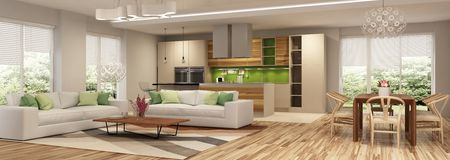 stock image of  modern house interior of living room and a kitchen in beige and green colors.