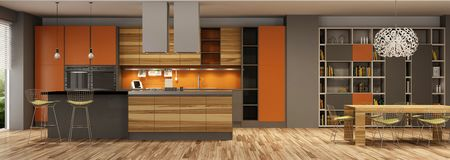 stock image of  modern house interior of living room and a kitchen in beige and orange colors.