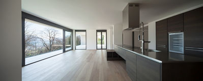 stock image of  modern kitchen with view