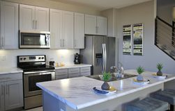 stock image of  modern kitchen in white