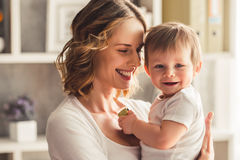 stock image of  mom and baby boy