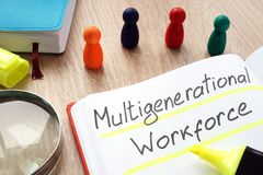 stock image of  multigenerational workforce written by pen