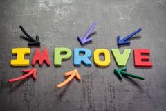 stock image of  multiple arrow pointing to colorful alphabet word improve at the