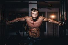 stock image of  muscular bodybuilder handsome men doing exercises in gym with naked torso. strong athletic guy with abdominal muscles and biceps.