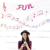 stock image of  music notes entertainment melody listening concept