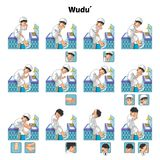 stock image of  muslim ablution or purification ritual guide step by step using water perform by boy