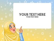 stock image of  muslim woman excited pointing finger up at blank copyspace