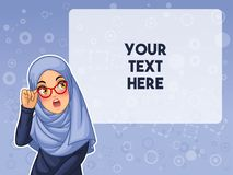 stock image of  muslim woman shocked with holding her glasses vector illustration