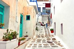 stock image of  street in mykonos, greece