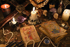 stock image of  mystic ritual with tarot cards, magic objects and candles