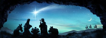 stock image of  nativity of jesus with the holy family scene