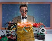 stock image of  nerd electronics technician short circuit lightning