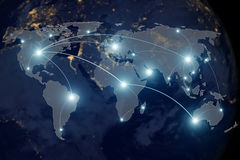 stock image of  network connection partnership and world map.
