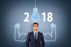 stock image of  new year 2018 innovation concepts on visual screen